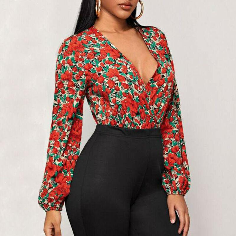 Women Sexy Vintage Floral Bodycon Bodysuit Long Sleeve Ladies Deep V Neck Wrap Bandage Body Suit Skinny Jumpsuit Female Rompers