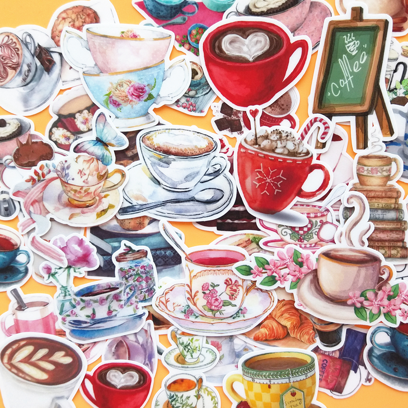 38PCS Coffee Cup Stickers Crafts And Scrapbooking Stickers Kids Toys Book Decorative Sticker DIY Stationery