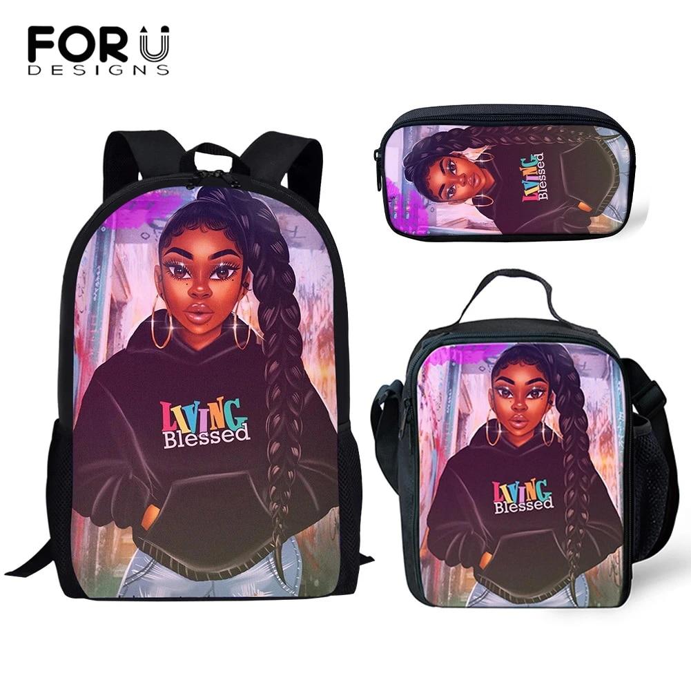 FORUDESIGNS/детские школьные сумки для детей, черная девочка, волшебный меланин, с принтами, сумка для книг, рюкзак для подростков, Mochila 2020