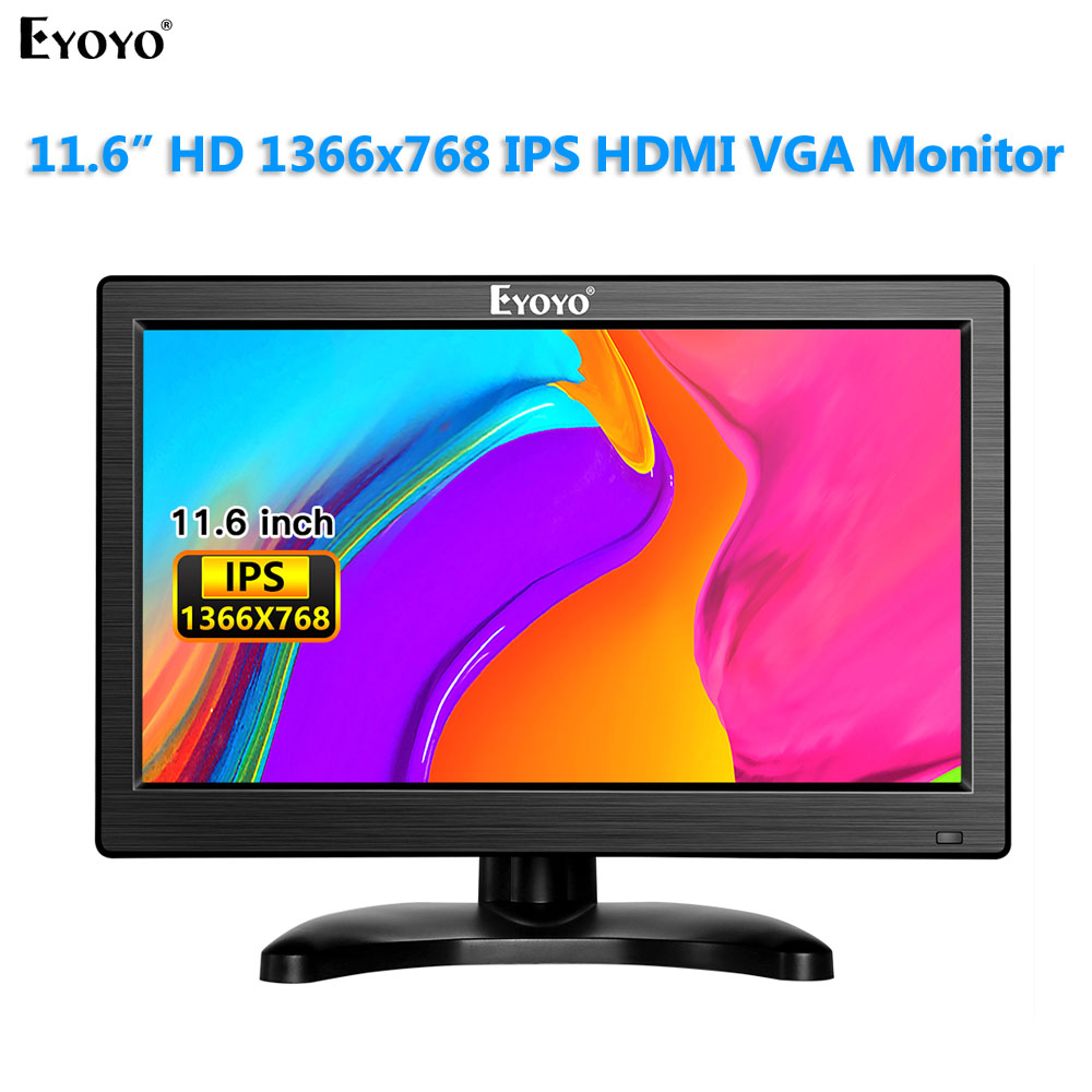 "Eyoyo 12 ""IPS 1366x768 Monitor HD CCTV wyświetlacz LCD ekran z USB HDMI VGA AV BNC Audio pilot do kamera ochrony"