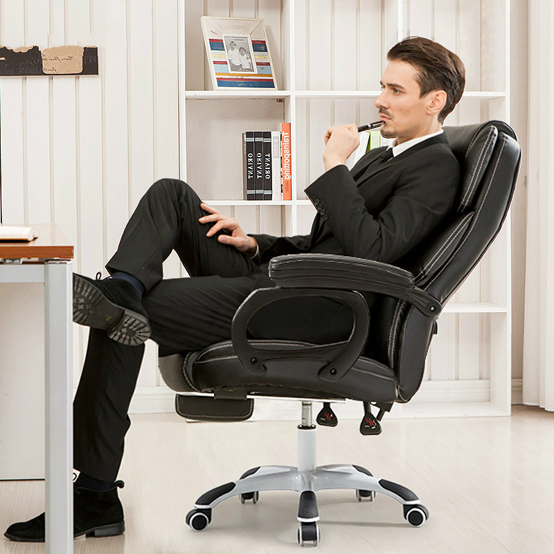 Genuine Leather Office Chair Household Computer Chair PU Swivel Lift Gaming Chair Reclining Silla Oficina Silla Massage Function