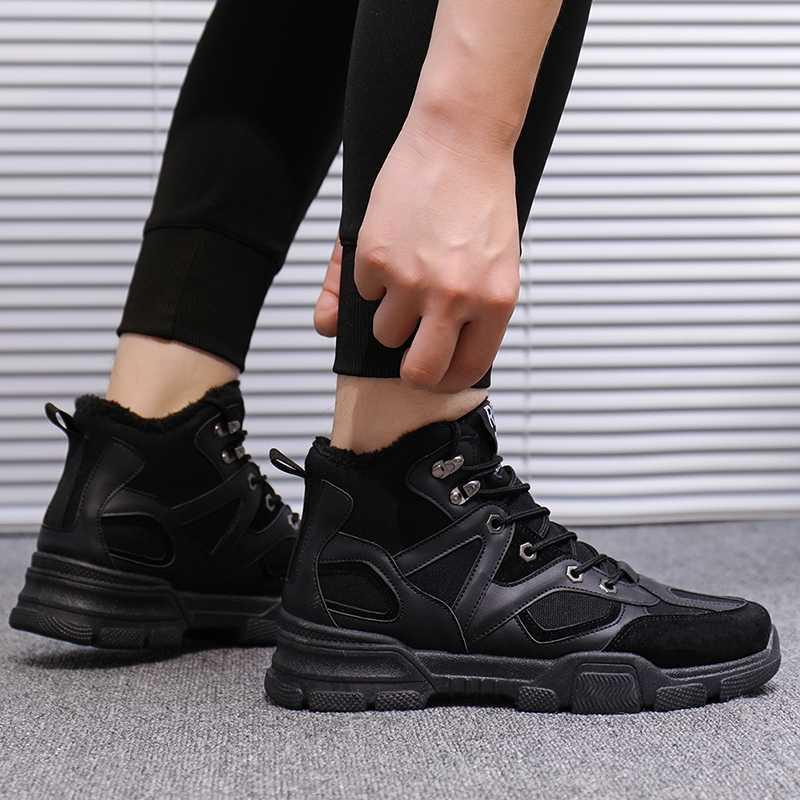Erkek Yüksek Top Çizmeler Erkek Açık Ayakkabı Süper Sıcak kaymaz Ayak Bileği kar botu Kalın Peluş Kauçuk Kış Iş güvenlik Erkek Ayakkabıları