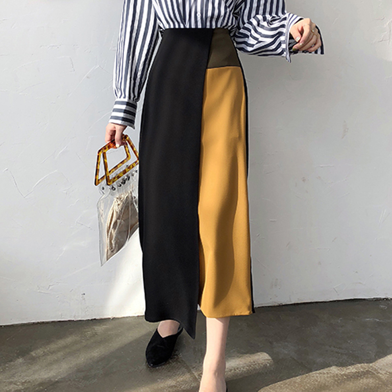 YAMDI Women Patchwork Skirt Female Chic Irregular Chic A-line Midi Skirt Spring Autumn 2020 High Waist Korean Slim Runway Lady