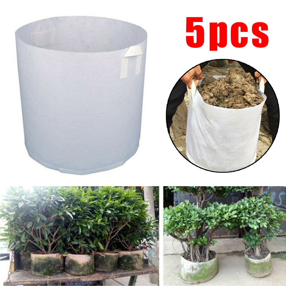 5pcs Grow Bags Fabric Pots Root Pouch W/ Handle Planting Container 5 Gallon Vegetable Jardin Seedling Growing Pots Garden
