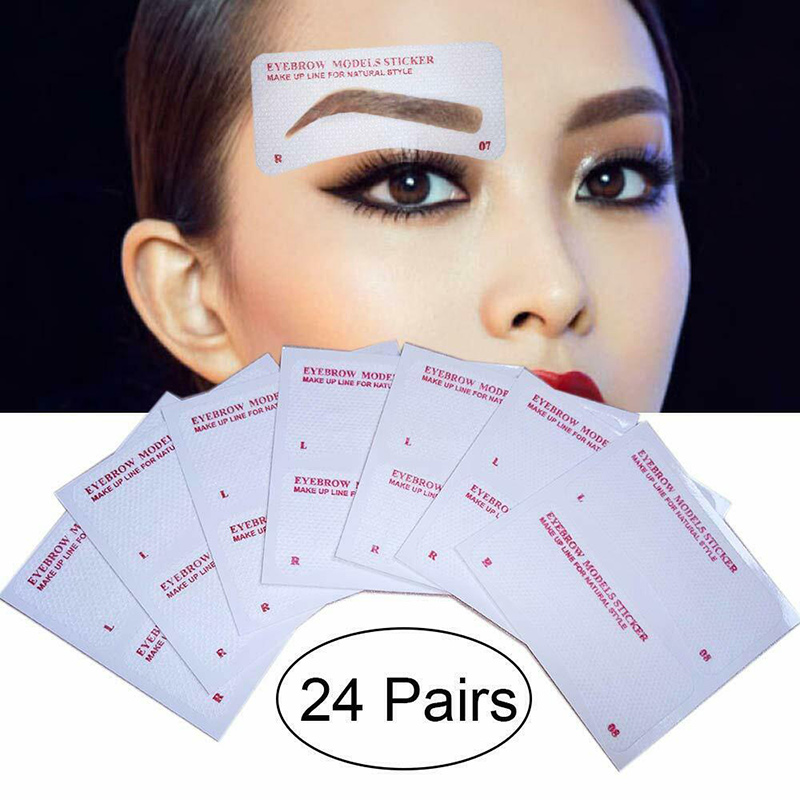 Hot Sale 12/24 Pairs Eyebrow Stencil Stickers Eyebrow Drawing Card Template DIY Makeup Tools Fre