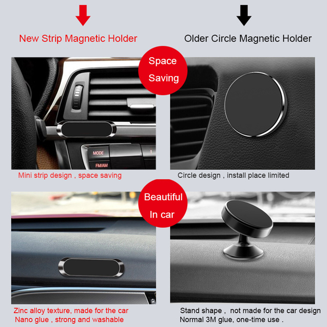 Mini Strip Shape Magnetic Car Phone Holder for iPhone Huawei Samsung Flat Wall Metal Magnetic Car GPS Dashboard Mount Holder 4