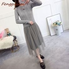 New Elegant Knitted Sweater Dress Autumn Winter Long Sleeve Mesh Patchwork Women Office Casual