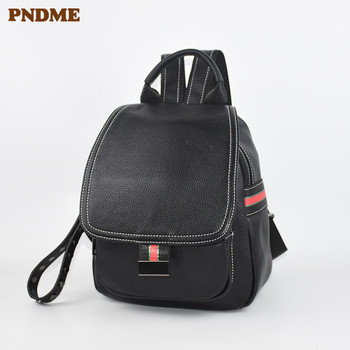 PNDME fashion casual genuine leather black ladies small backpack  outdoor simple daily mini party cute women's bagpack female