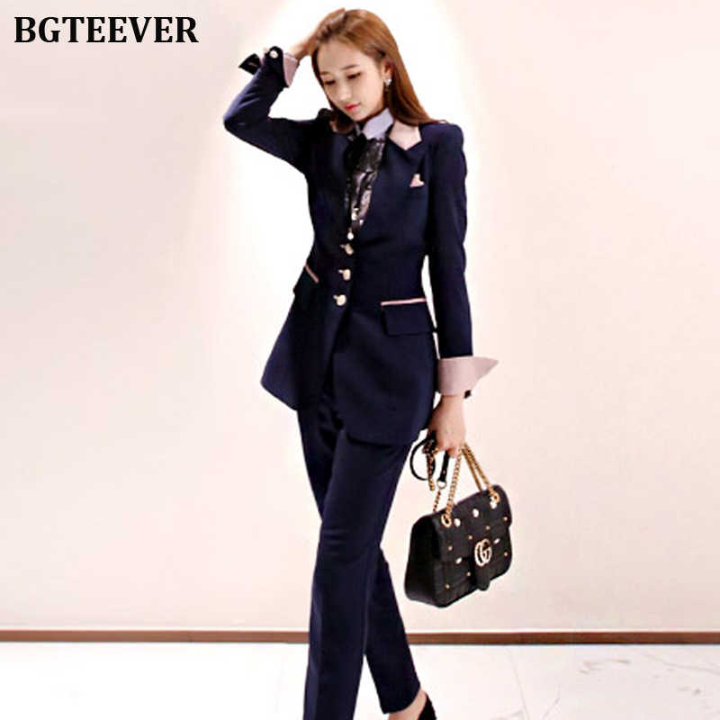 Elegante traje de pantalón de mujer de retazos de oficina de mujer de una sola botonadura ajustado conjunto de chaqueta de mujer ropa de trabajo traje de pantalón 2019