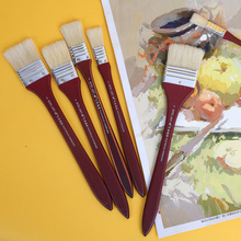 3pcs super Long Flat Head Paint Brush Gouache Acrylic Painting Brush Oil Brush Painting Wall Art Supplies Watercolor Paint Tools