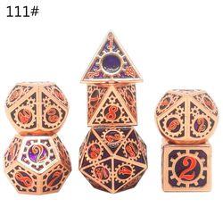 OOTDTY 14 tipos 7 unids/set de juego de dados de Metal Conjunto de dados poliédricos DND RPG juegos de rol juego de D4 D6 D8 D10 D12 D20