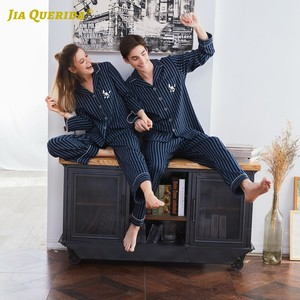Image 3 - Couple Pajamas 2020 100% Cotton Cardigan Long Sleeved Men And Women Pajamas Stripe Embroidered Lapel Couple Home Suit Sleep Wear