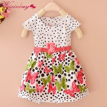 Summer Baby Girls Kids Short Sleeve Dress Polka Dots Butterf