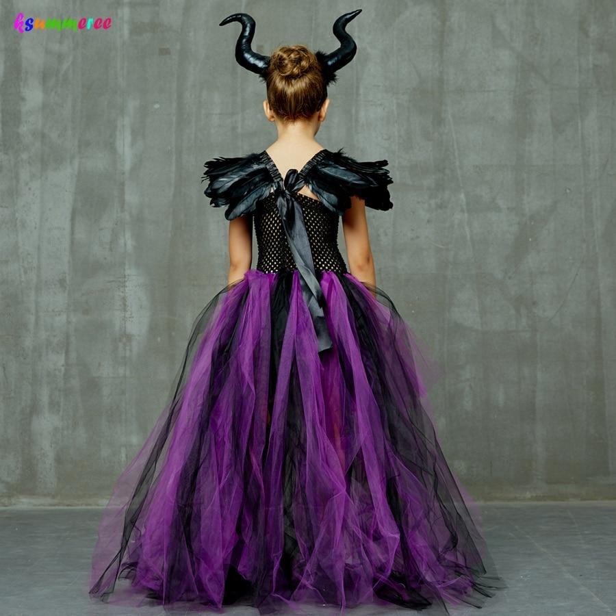 Purple Black Children Maleficent Costume Girls Dark Witch Villain Halloween Fancy Tutu Dress Evening Party Carnival Ball Gowns 4