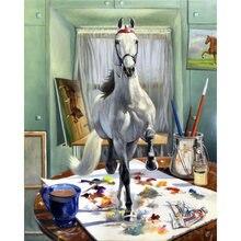 Diy картина по номерам лошадь Набор для рисования маслом Животные