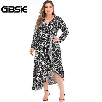 GIBSIE Plus Size Office Lady Printing Women Long Dress Autumn V-neck Long Sleeve High Waist Asymmetrical Ruffle Dress Vestidos