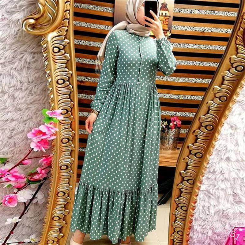 Plus Size Polka Dot Kaftan Abaya Dubai Hijab Muslim Dress Caftan Marocain Turkish Dresses Jilbab Abayas For Women Islam Clothing