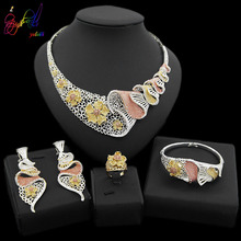 Yulaili New Fashion Vintage Turkish Women African Beads Necklace Earrings Nigeria Wedding Jewelry Sets Dubai Crystal Jewellery