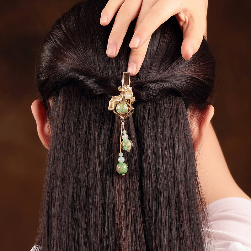 Green Fine coloured glaze Hairpin Head Ornaments Ethnic Hair Jewelry Simple Barrettes Copper Accessories Hairwear Clip