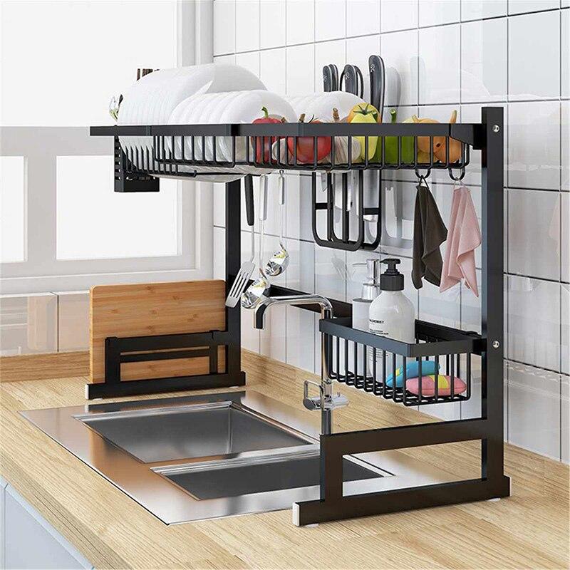 65/85cm Küche Waschbecken Edelstahl Schüssel Schüssel Rack Organizer Regal Lagerung Inhaber Utensilien Lagerung Liefert In Schwarz - 2