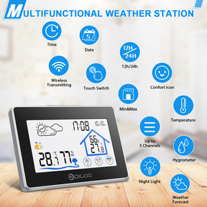 Image 4 - Digoo беспроводной термометр с сенсорным экраном, гигрометр для помещения, метеостанция, уличный датчик прогноза погоды, часы, календарь