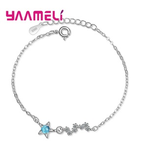 Hot Fashion Jewelry 925 Sterling Silver Clear Crystal Charm Bracelets & Bangles Pulseiras Blue Rhinestone Bracelets For Women