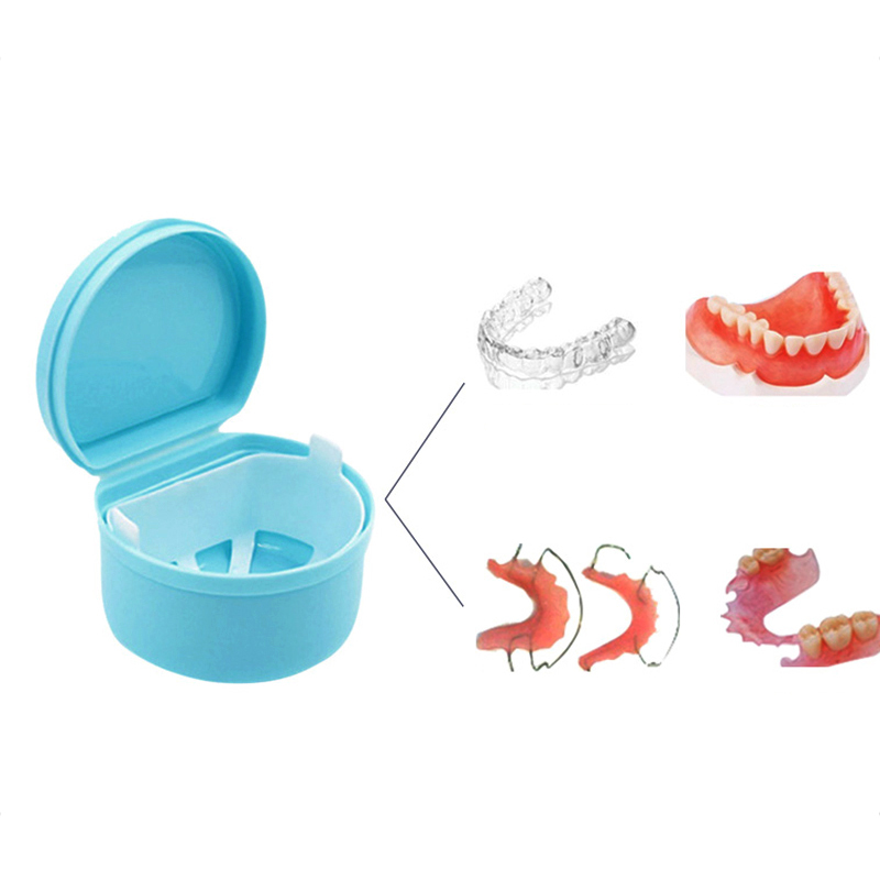 Portable Denture Case Container Dental False Teeth Storage Box Holder Tooth Rinsing Basket With Hanging Net Oral Care Tool