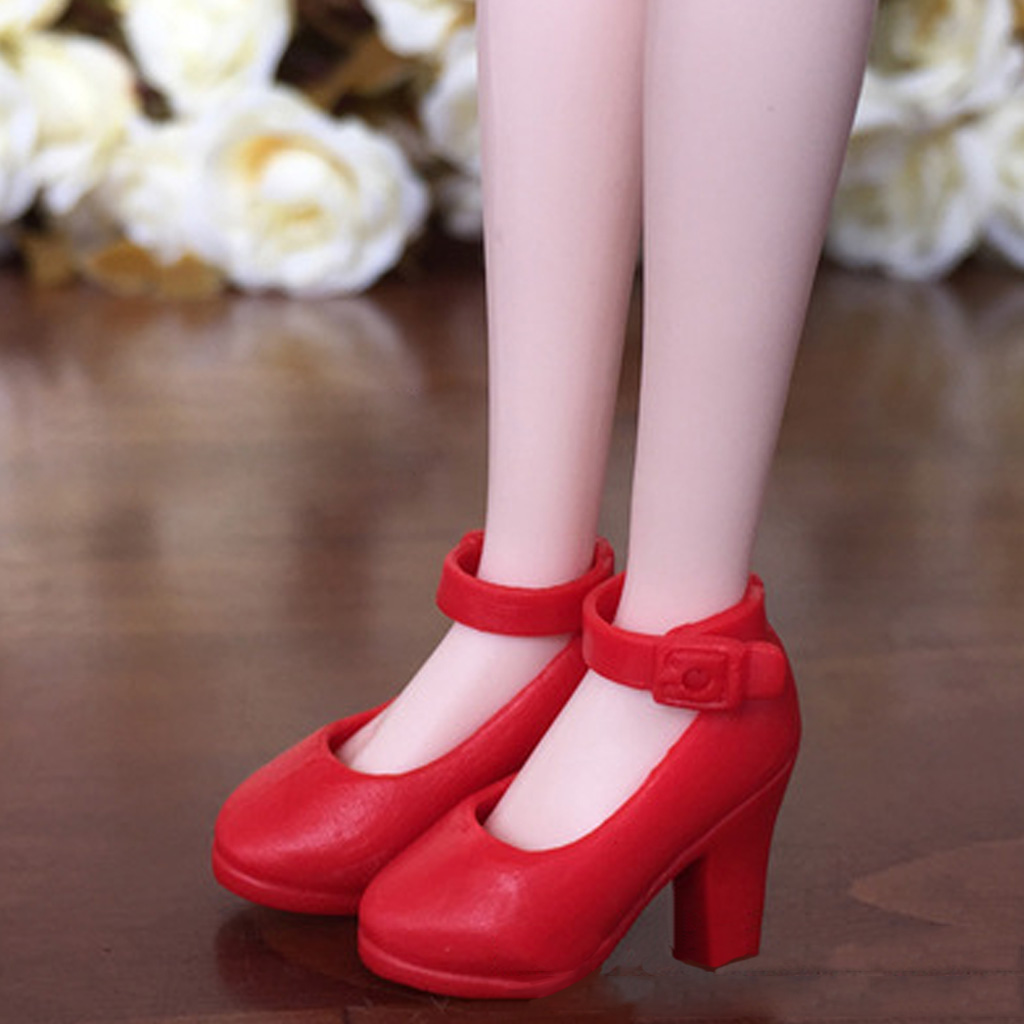 1//6 BJD Ankle Strap High Heels Shoes Sandals for Blythe Girl Doll Accessory