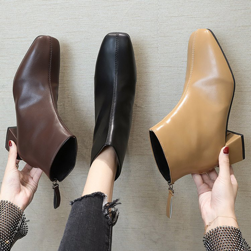 Ankle-Boots Square-Heels Fashion Shoes Warm Zipper Plush Winter Women for Toe Short Comfortable