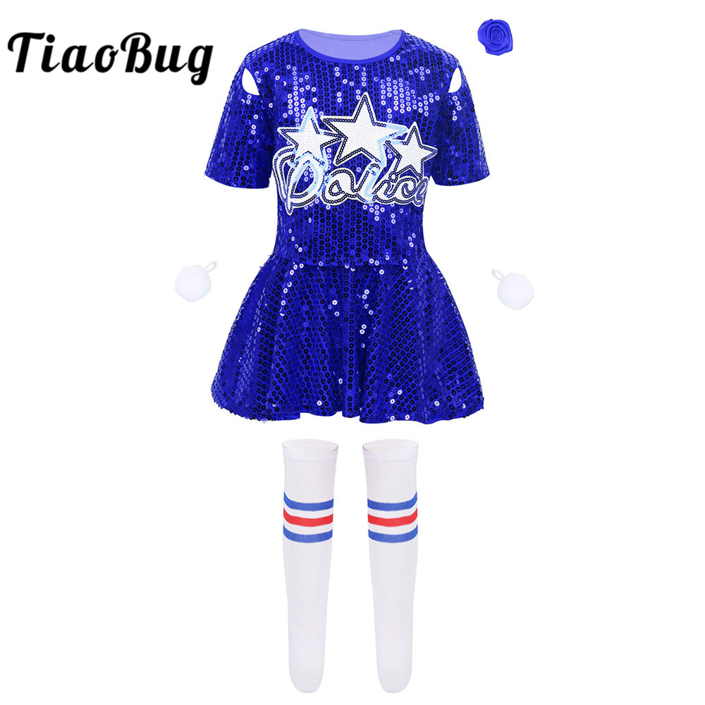 TiaoBug Kids Girls Cheerleading Uniform Sequins Crop Top With Skirt Shorts Flower Socks Set Stage Performance Jazz Dance Costume