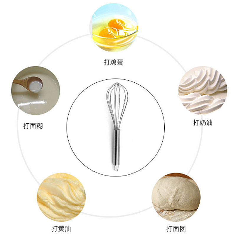 1PC In Acciaio Inox Palloncino in Fil di ferro 8/10/12 pollici Manuale Mixer Frullino per le uova Da Cucina di Cottura Utensile Crema di Latte uovo Frusta