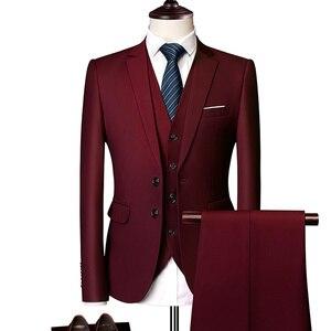 Image 4 - 純粋な色の男性のフォーマルなスーツファッションビジネスカジュアル宴会男性のスーツのジャケット + ベスト + パンツサイズ6XL 2/3ピース結婚式のためにスーツ
