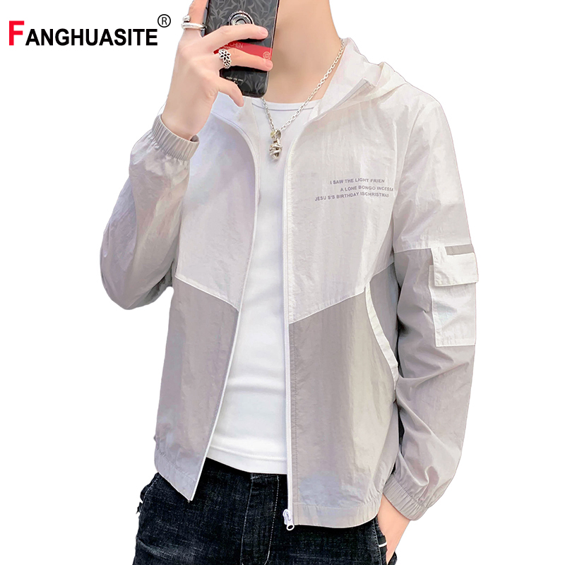 Thin Sction Men's Summer Jacket Light Breathable Letter Printed Windbreaker New Pocket Patchwork  Sun Protection Clothing V88