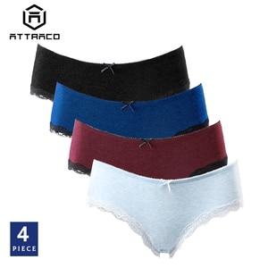 Ataco mujeres ropa interior pantis Hipster 4 paquetes de algodón suave Strech comodidad sólido señoras pajarita media cintura gran oferta Dropshiping