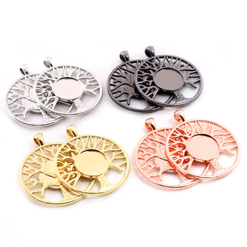 5pcs 14mm Inner Size High Quality Rhodium Gold Black Colors Plated Tree Style Cabochon Base Cameo Setting Charms Pendant