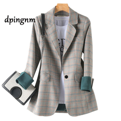 New Autumn Winter Women's Blazers Plaid Double Breasted Pockets Formal Jackets Notched Outerwear Tops JK7113