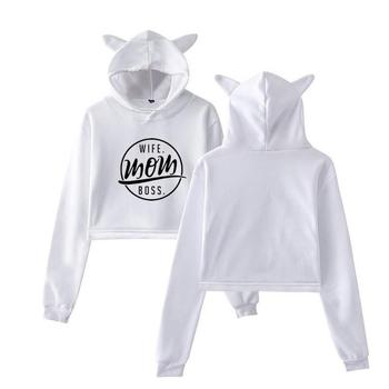 цена Hoodies For Women Short Cat Ear CAT PAW Letters Print Sweatshirt Femmes Sweatshirts Hoodies Tops Harajuku Print Frauen онлайн в 2017 году