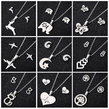 Hfarich Fashion Stainless Steel Elephant Cat Butterfly Necklace Women Deer Moon and Star Long Chain set Friend Gift