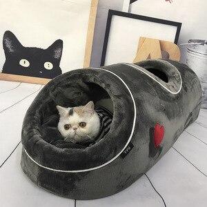 Мягкий домик для кошек, теплый дом для котенка, спящего питомца, забавная кровать с фланелевым ковриком, домик для кошек на зиму, игровые игр...