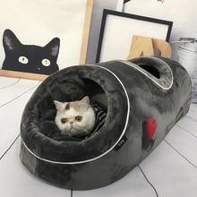 Casa de caverna de gato macio, cama engraçada com tapete de flanela, gatos e gatos, casa quentinha para o inverno jogar brinquedos cama