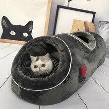 Cave pour chat doux chaud pour animal de compagnie, lit amusant, avec tapis en flanelle, Tunnels, nid pour jouets dhiver
