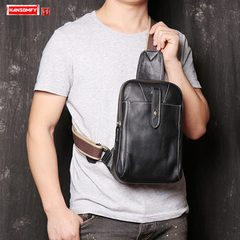New Men's Leather USB Chest Bag Fashion Casual men Small Shoulder Bag real soft black Leather Crossbody Bags 2020 male