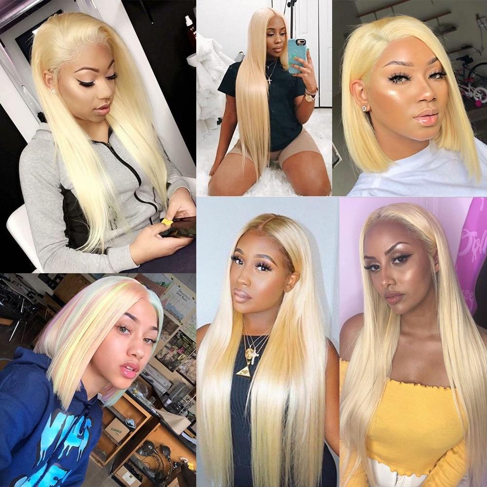H434616af2a1245059a4dcd6908c449a4M Ali Grace Hair Blonde 613 Bundles With Frontal Brazilian Straight Bundles with Closure 13*4 Remy Blonde Bundles With Frontal
