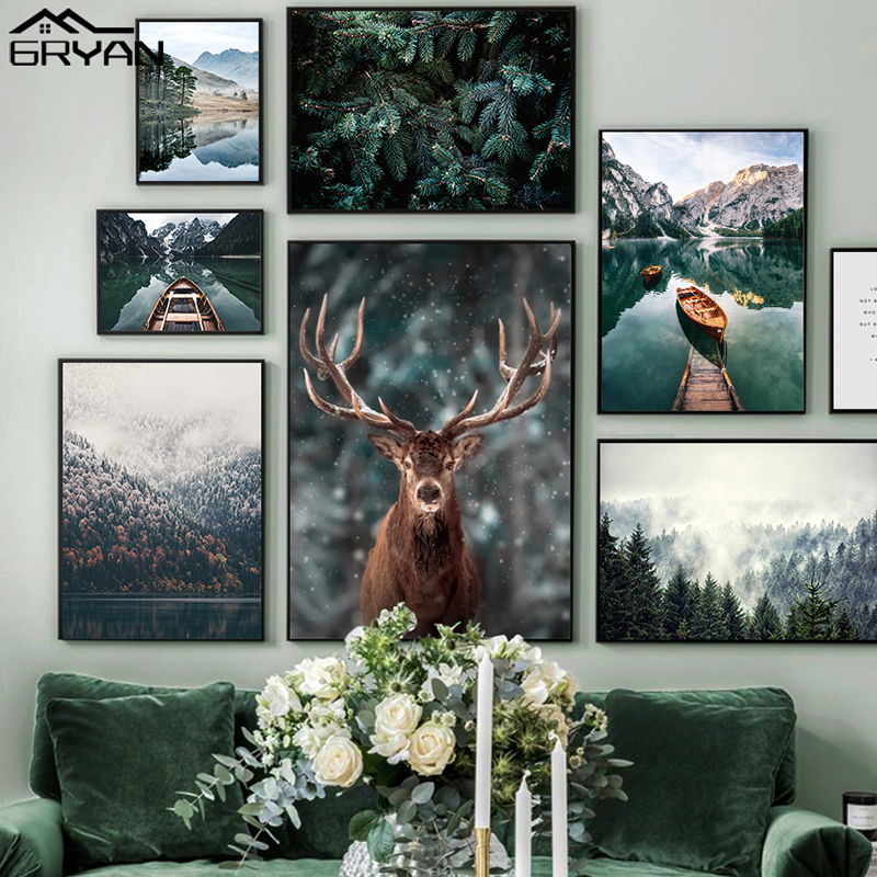 Nordic Snowing Landscape Forest Deer Poster Animal Lake Boat Christmas Leaves Snow Mountain Prints Painting Nature Picture Decor