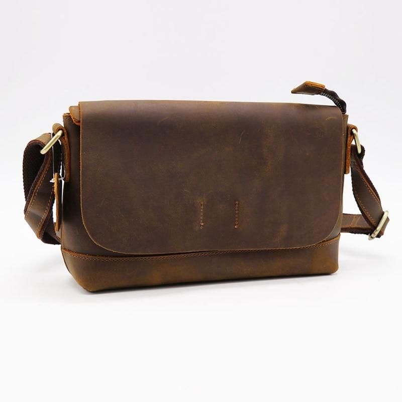 Crazy Horse кожаная мужская сумка через плечо из воловьей кожи женская сумка мессенджер Наплечная Сумка пакет для магазина путешествия унисекс - 3