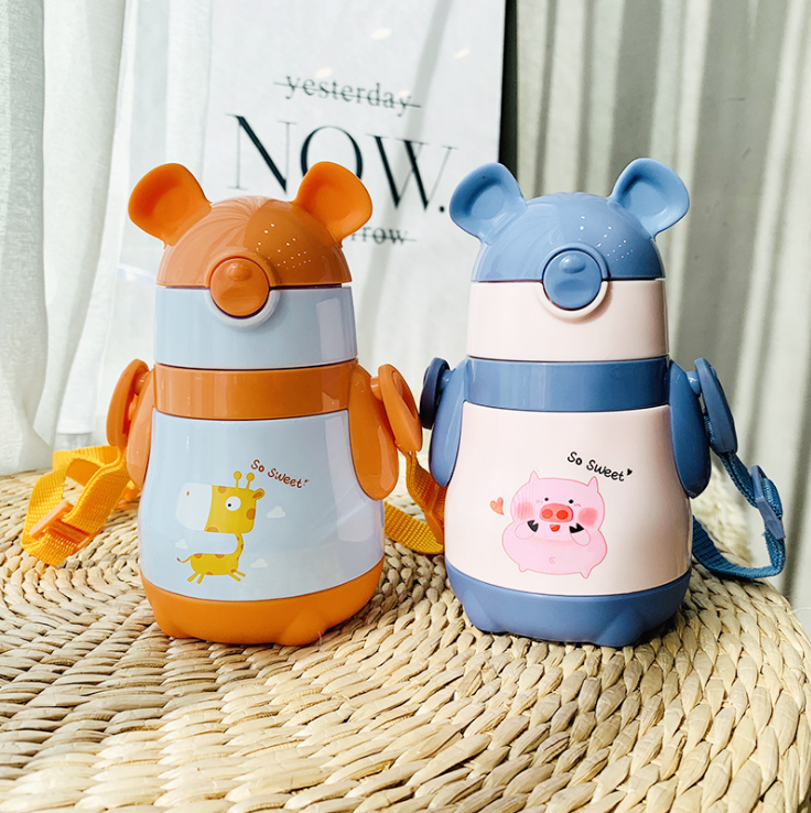 300ml <font><b>Baby</b></font> Animal Feeding Cup Stainless Steel Milk Thermos for Children Insulated hot water Bottle leak-<font><b>poof</b></font> thermal Cup image