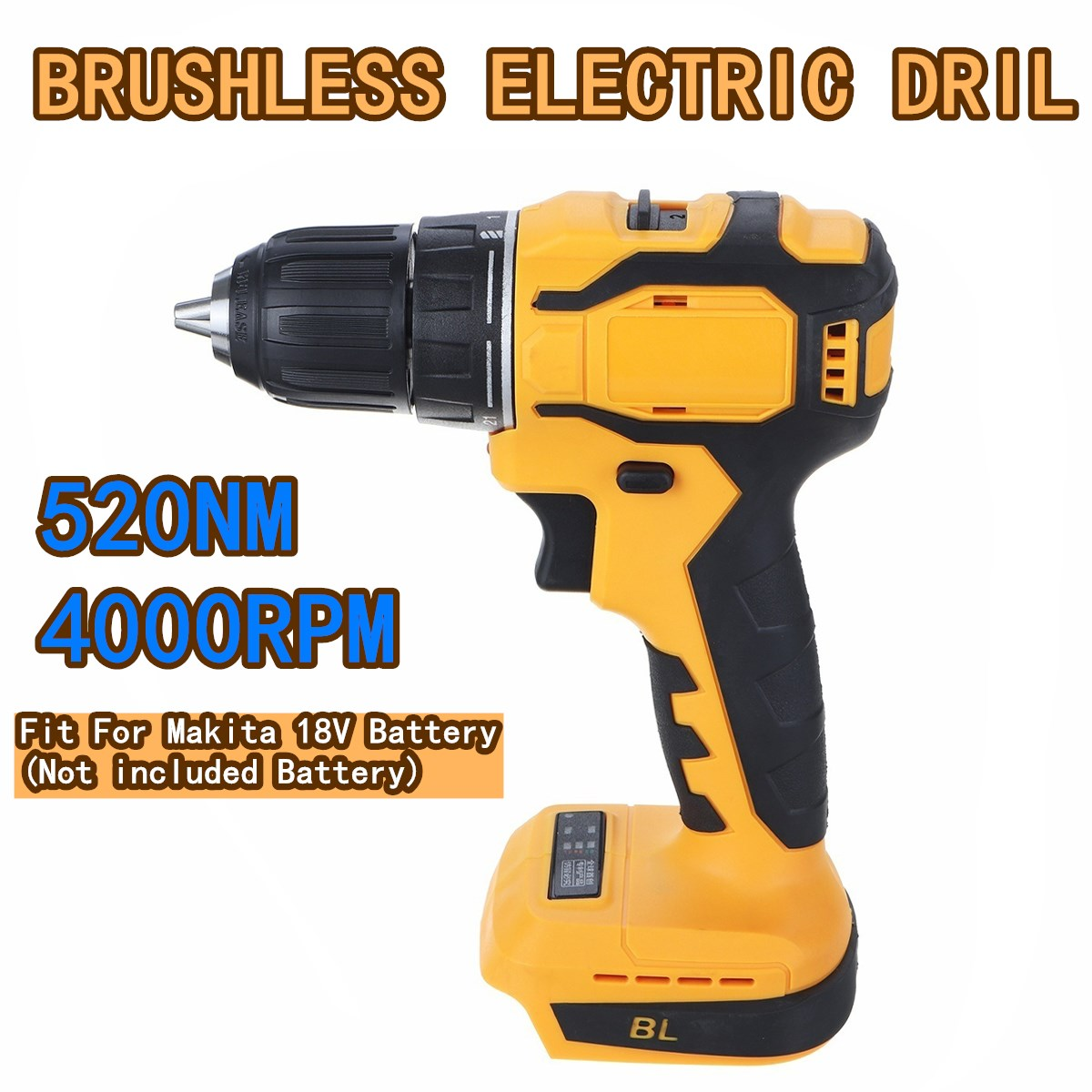 10mm Chuck Brushless Impact Drill 520N.m Cordless Electric Drill For Makita 18V Battery 4000RPM LED Light Power Drills|Electric Drills| - AliExpress