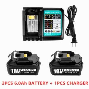 Image 1 - עם מטען BL1860 נטענת Batteries18V 6000mAh ליתיום יון עבור מקיטה 18v סוללה 6Ah BL1840 BL1850 BL1830 BL1860B LXT400