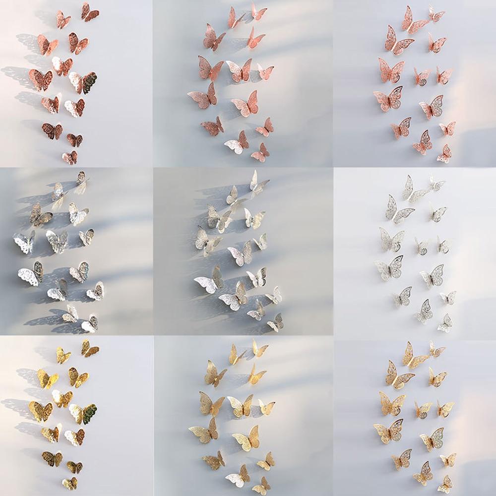 12pcs/set Hollow 3D Butterfly Wall Sticker For Wedding Decoration Living Room Window Home Decor Gold Silver Butterflies Stickers