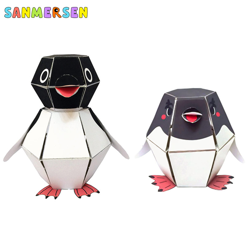 Toys For Children Crafts Kids DIY Scrapbooking Kindergarten 3D Origami Paper Animal Penguin Bounce Montessori Learning Toys